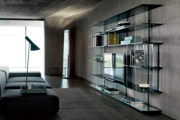 Шкаф со стеклом в стиле лофт фото