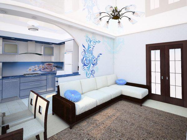 Белый диван и голубой кухонный гарнитур в дизайне