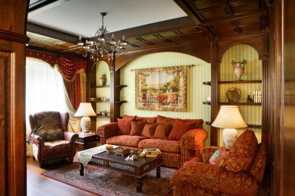 Красные диваны в гостиной