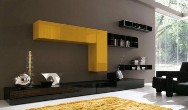 Жёлто-чёрная корпусная мебель в гостиной фото