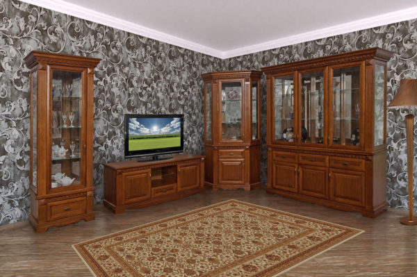 Деревянная стенка в гостиной