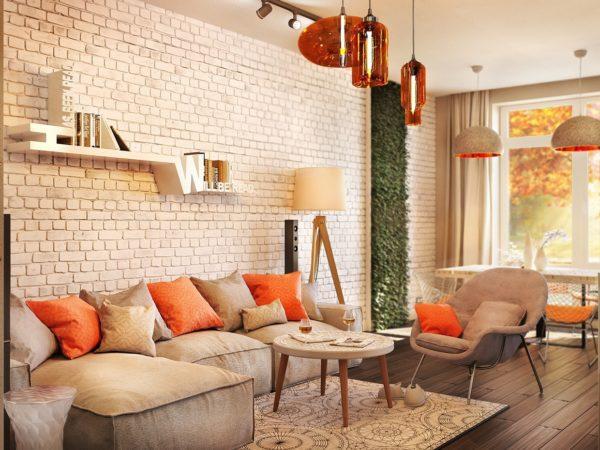Бежевая гостиная с оранжевыми акцентами