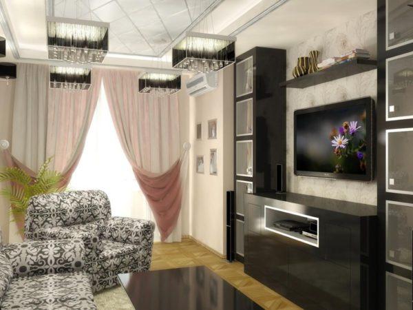 Тёмная стенка в небольшой гостиной