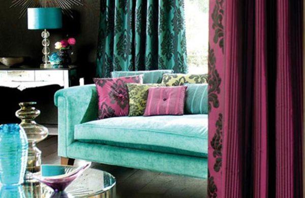 Бирюзовый и фиолетовый цвета в интерьере