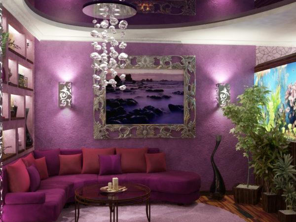 Тёмно фиолетовая гостиная