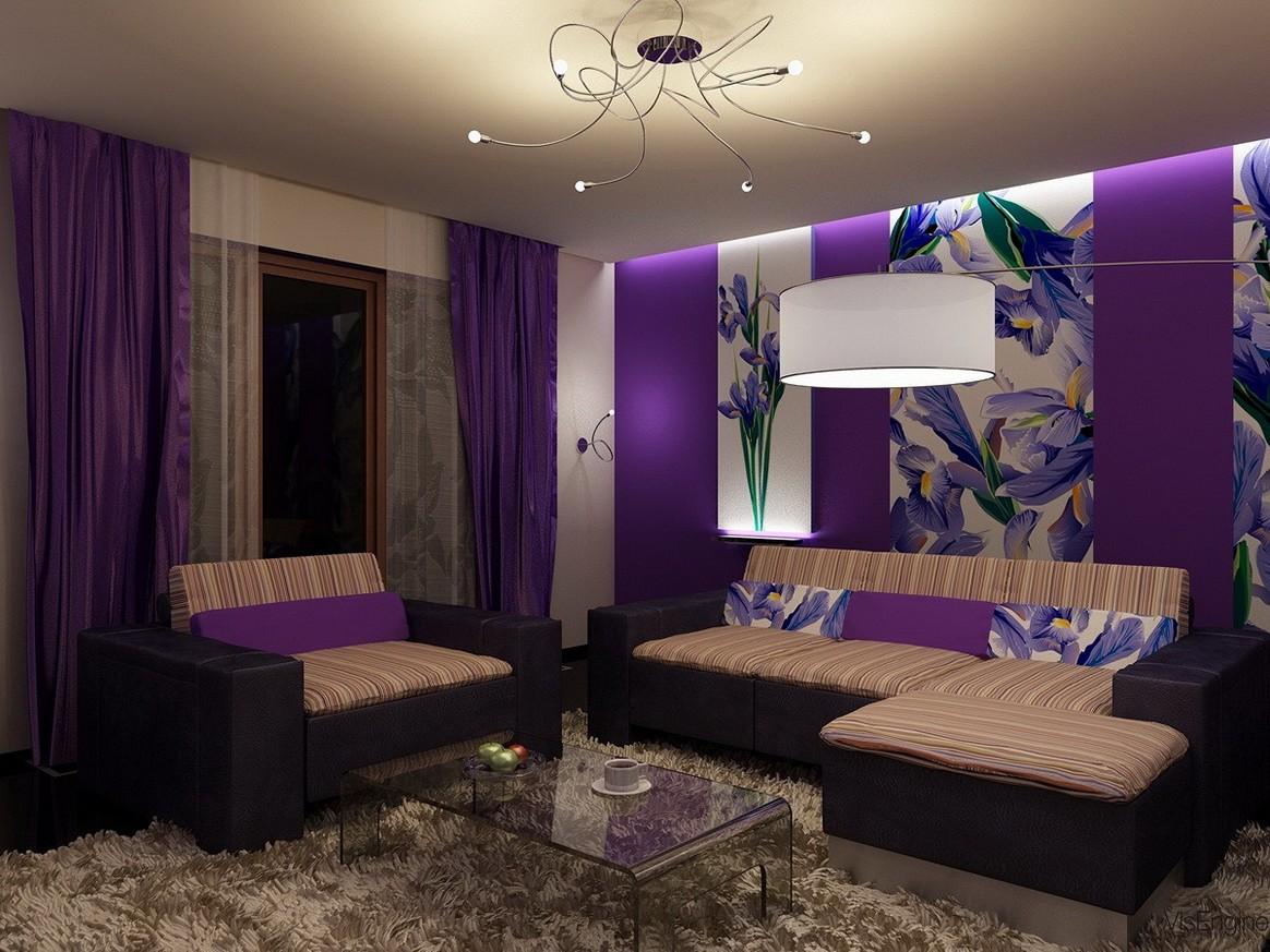 Дизайн зала в фиолетовых тонах фото