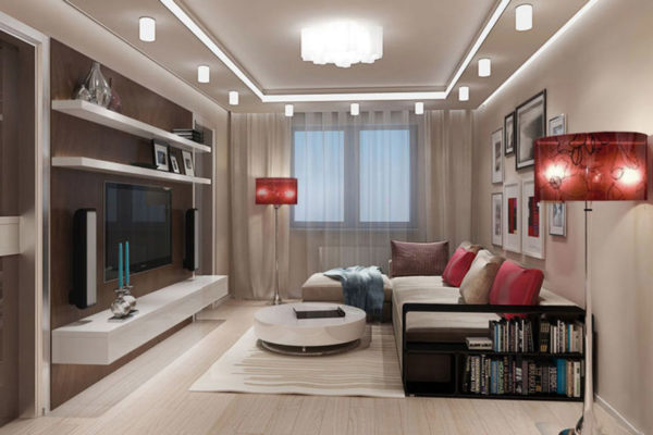 Хорошо освещённая гостиная