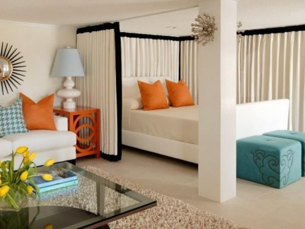 Шторы для разделения на зоны спальни-гостиной
