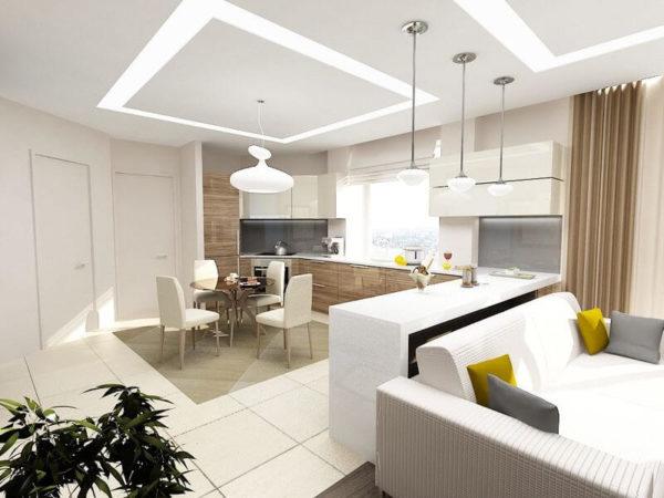 Белая кухня-гостиная