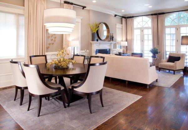 Столовая и гостиная в одной комнате