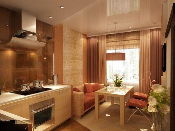 Фото гостиной-кухни 13 кв.м