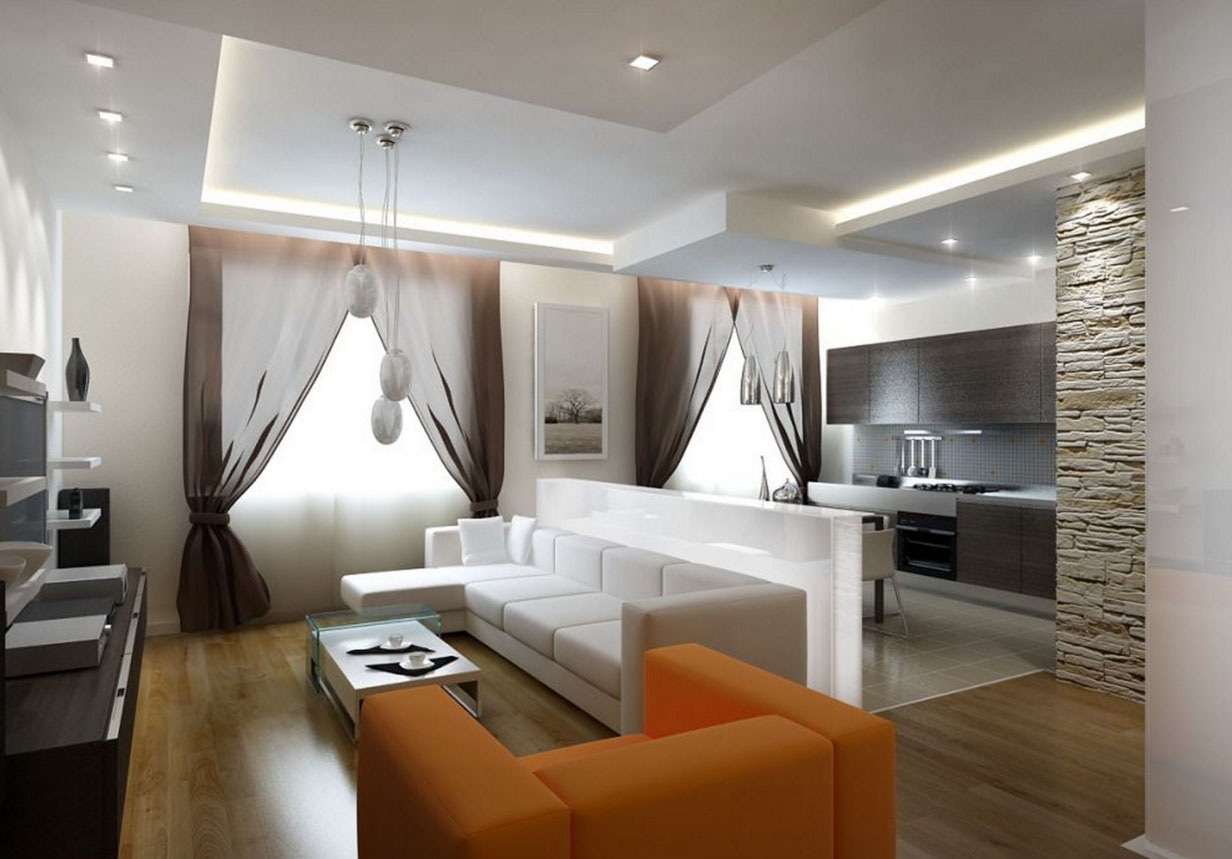 Дизайн интерьера кухня гостиная 40 м дизайн