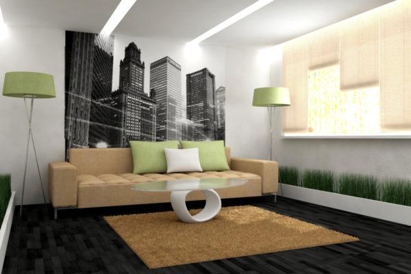 Чёрно-белый город на фотообоях в зале