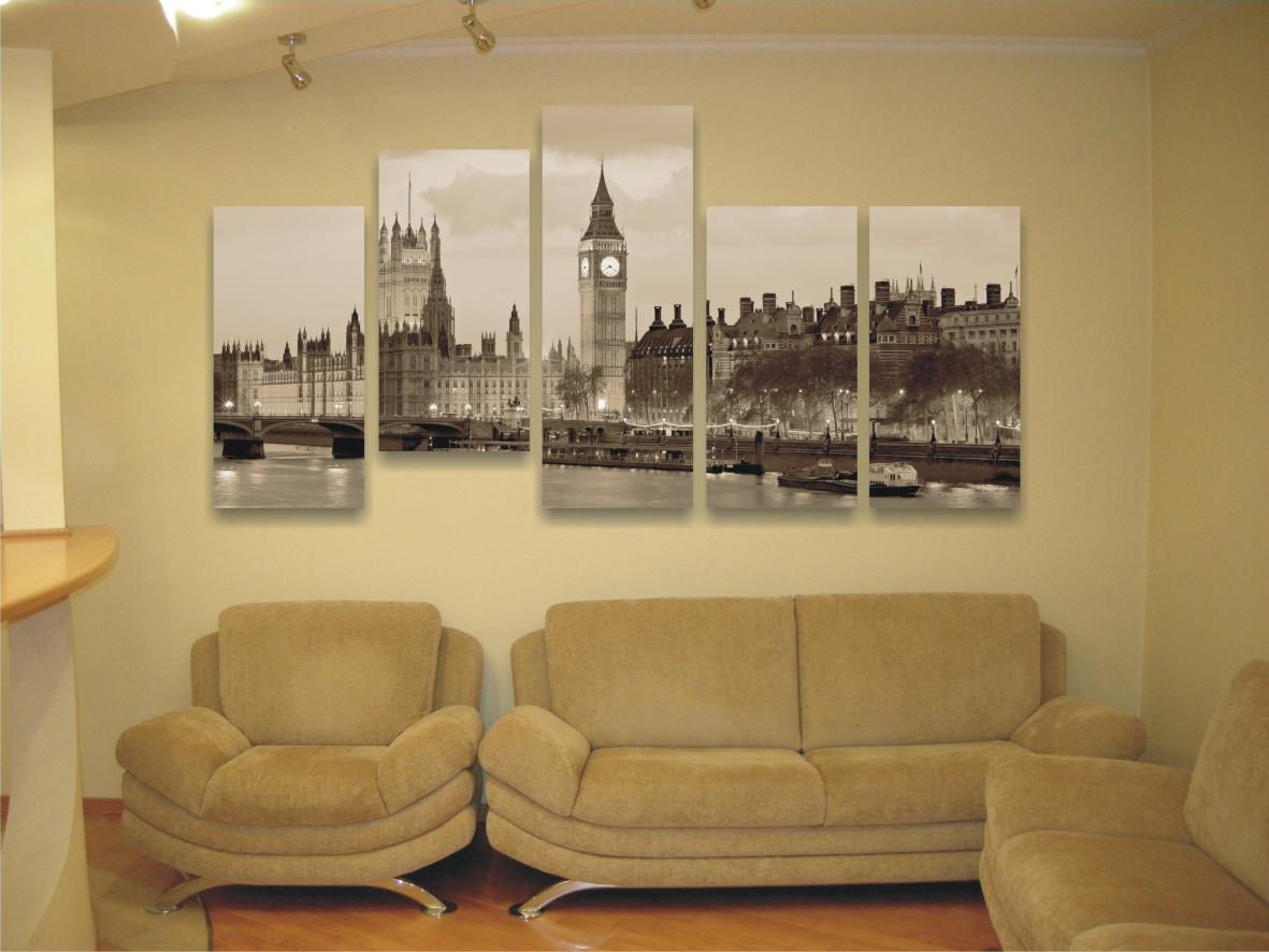 Модульные картины фото в интерьере зала