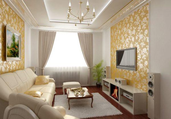 Белая гостиная с золотым рисунком