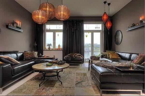 Коричневый цвет в интерьере с мебелью
