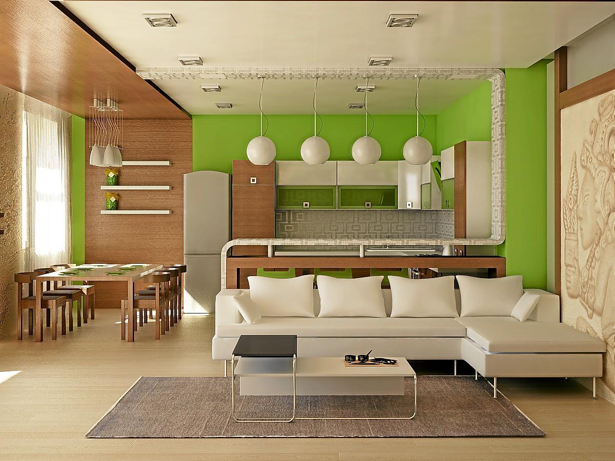 Дизайн студии кухня и гостиная