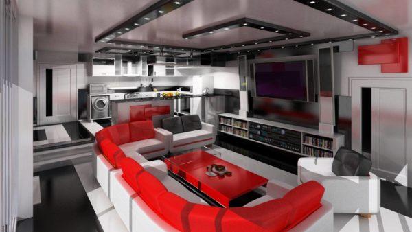 Бело-красный диван в зале