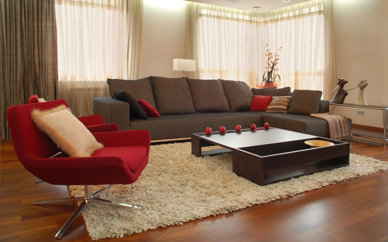 bigpreview_Living Room in Brown and Red Colors