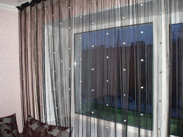 Нитяные коричневые шторы