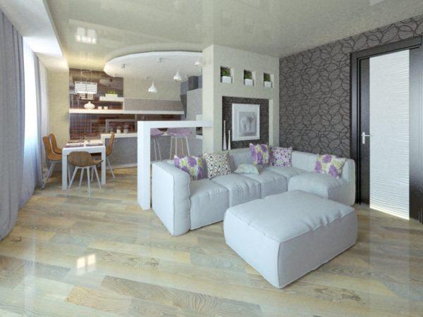 Белый диван с тёмными обоями
