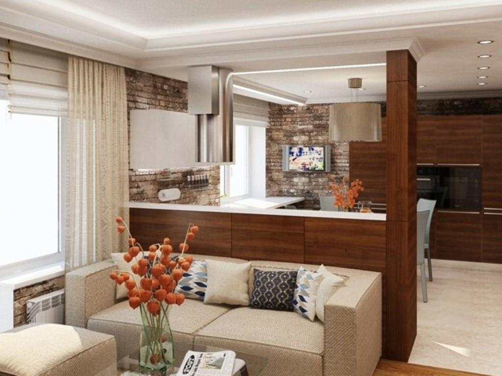 Дизайн проект кухни гостиной 16 кв.м с диваном