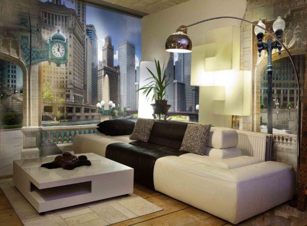 Город на стене в гостиной
