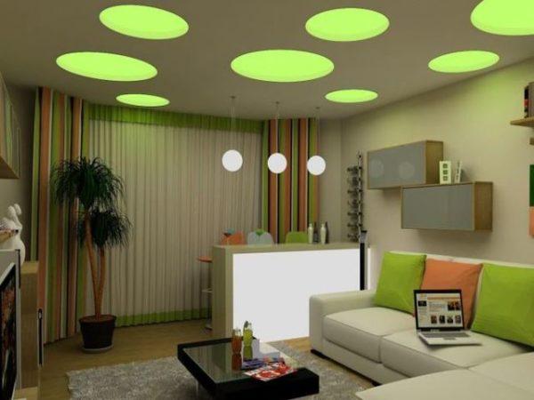 Зелёные оттенки в дизайне гостиной
