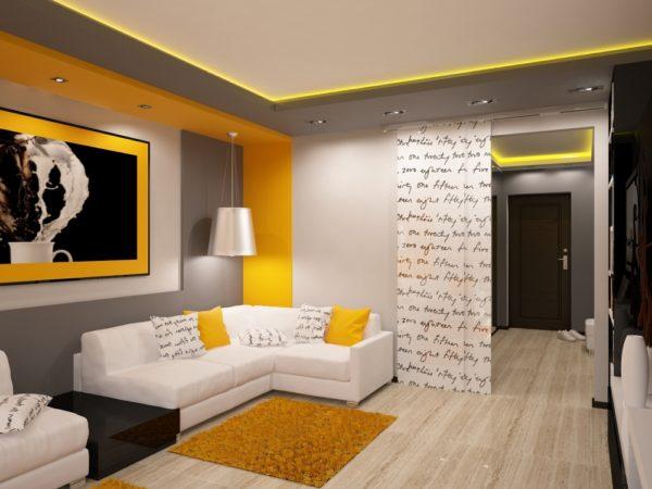 Гостиная в жёлтом цвете