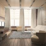 Гостиная с двумя окнами на разных стенах