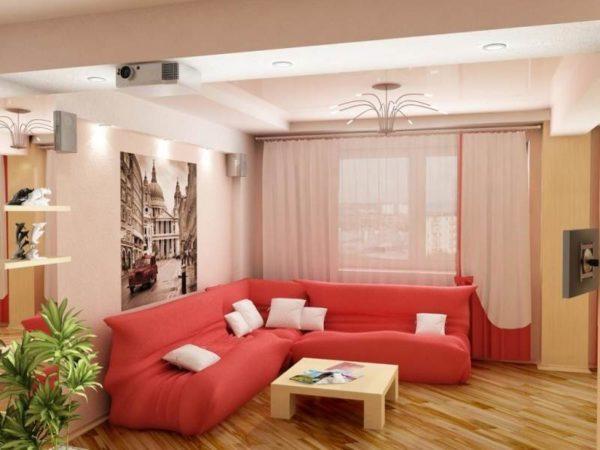Красный угловой диван в зале 18 кв.м