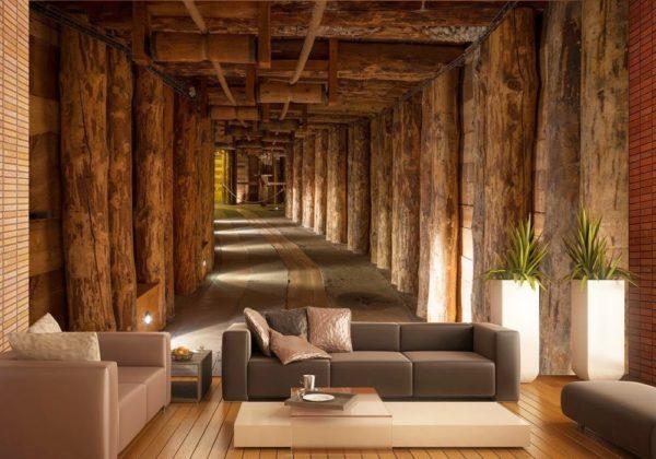 Деревянный тунель на обоях