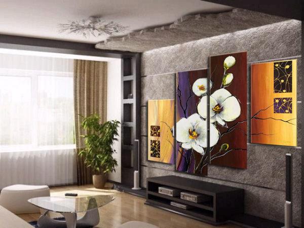 Модульная картина в гостиной с серыми тонами