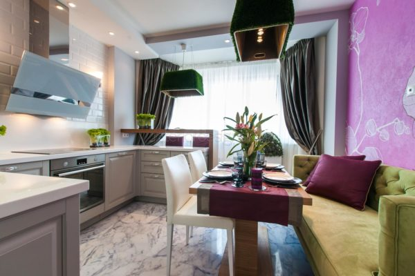Дизайн гостиной-кухни 13 кв.м