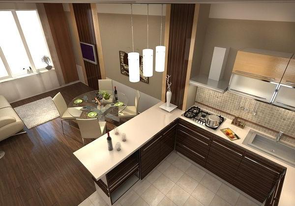 Плитка и ламинат в интерьере кухни-гостиной