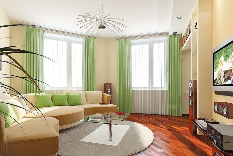 Интерьер гостиной с двумя окнами на одной стене фото