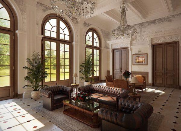 Британский стиль в большой гостиной