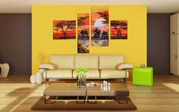 Модульная картина на жёлтом фоне в гостиной