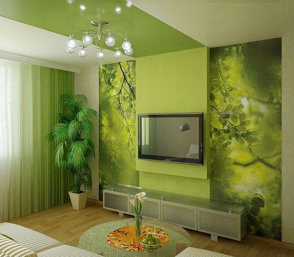 Зелёный цвет в гостиной