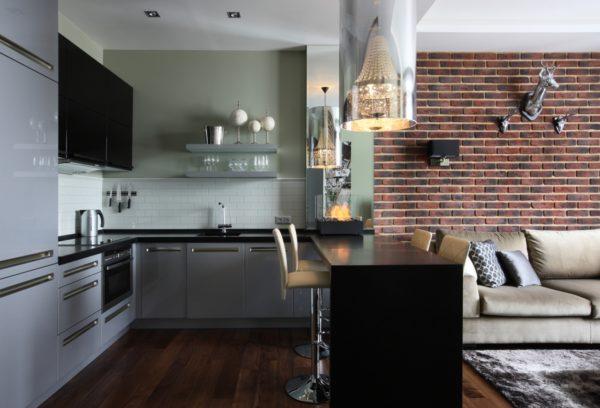 Стиль лофт в интерьере кухни-гостиной
