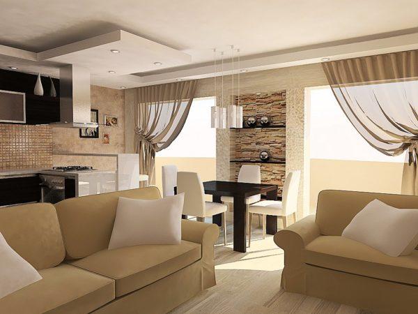 Уютная гостиная-кухня в частном доме