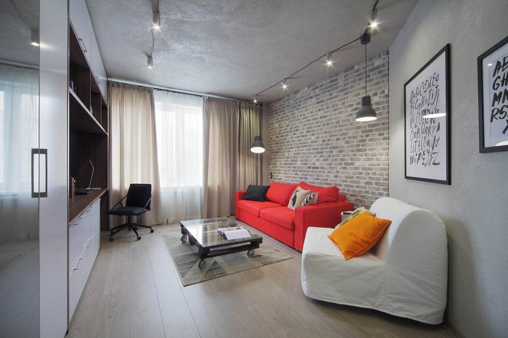 Интерьер однокомнатнй квартиры 47 кв.м.
