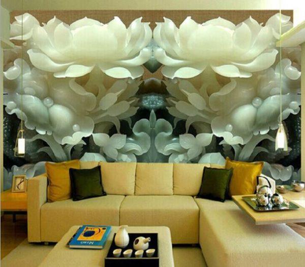Объёмные 3д цветы в гостиной