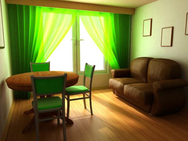 Небольшая гостиная с зелёными шторами