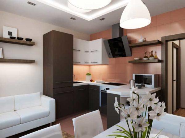 Совтеменный стиль в кухне-гостиной 13 кв.м