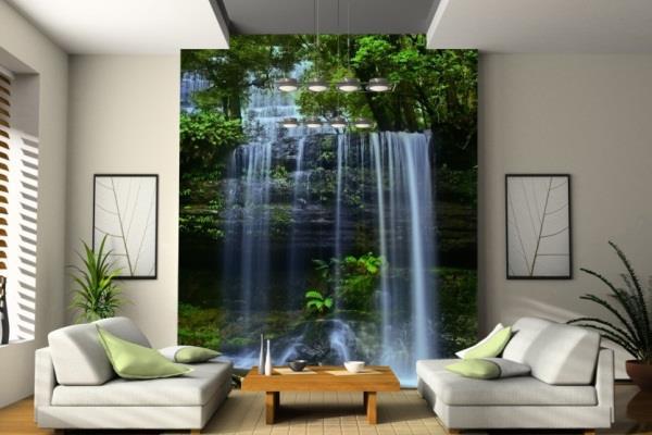 Водопад в интерьере гостиной