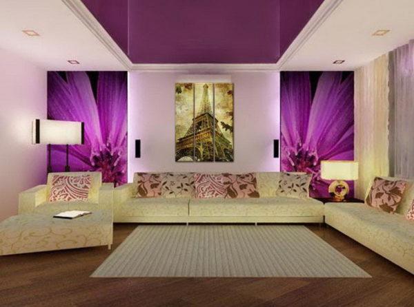 Глянцевый сиреневый потолок