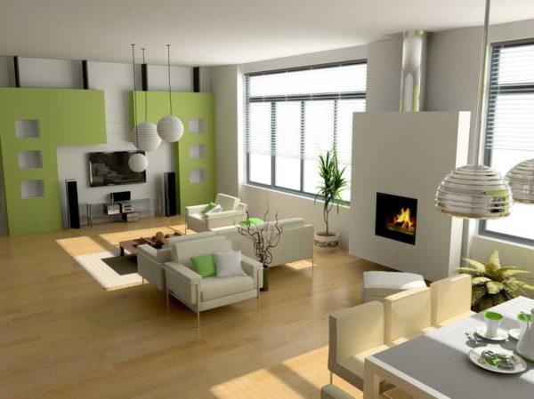 Столовая-гостиная в просторном доме