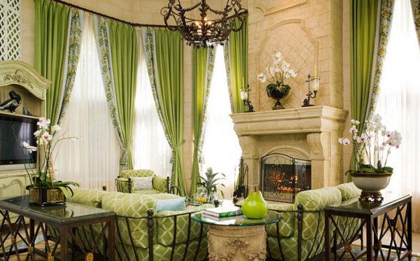 Гостиная в зелёных оттенках