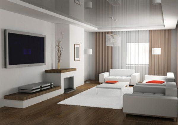 Современный зал в коричневых тонах